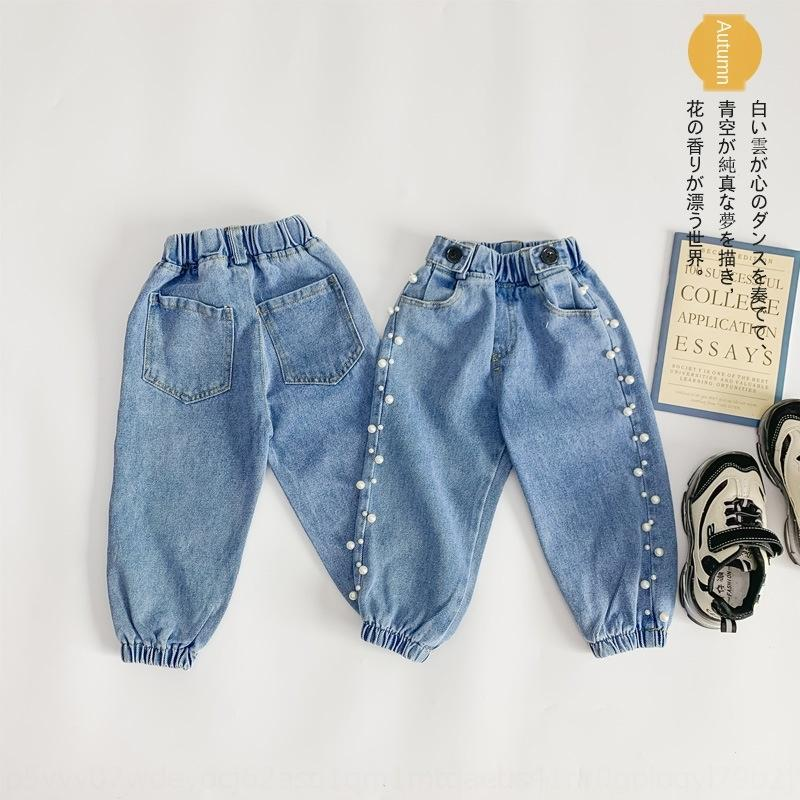 Children's Wear Jeans sports sports pants girl jeans 2019 autumn new side Pearl Korean all-match pants N527