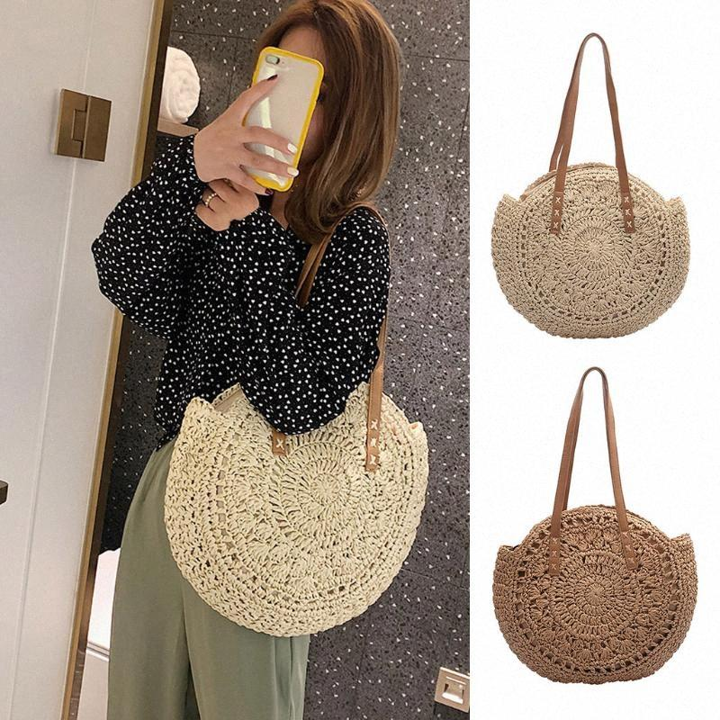 #H40 Round Straw Beach Bag Vintage Handmade Woven Shoulder Bag Circle Rattan Bags Bohemian Summer Vacation Casual Bags Best Messenger xTmR#