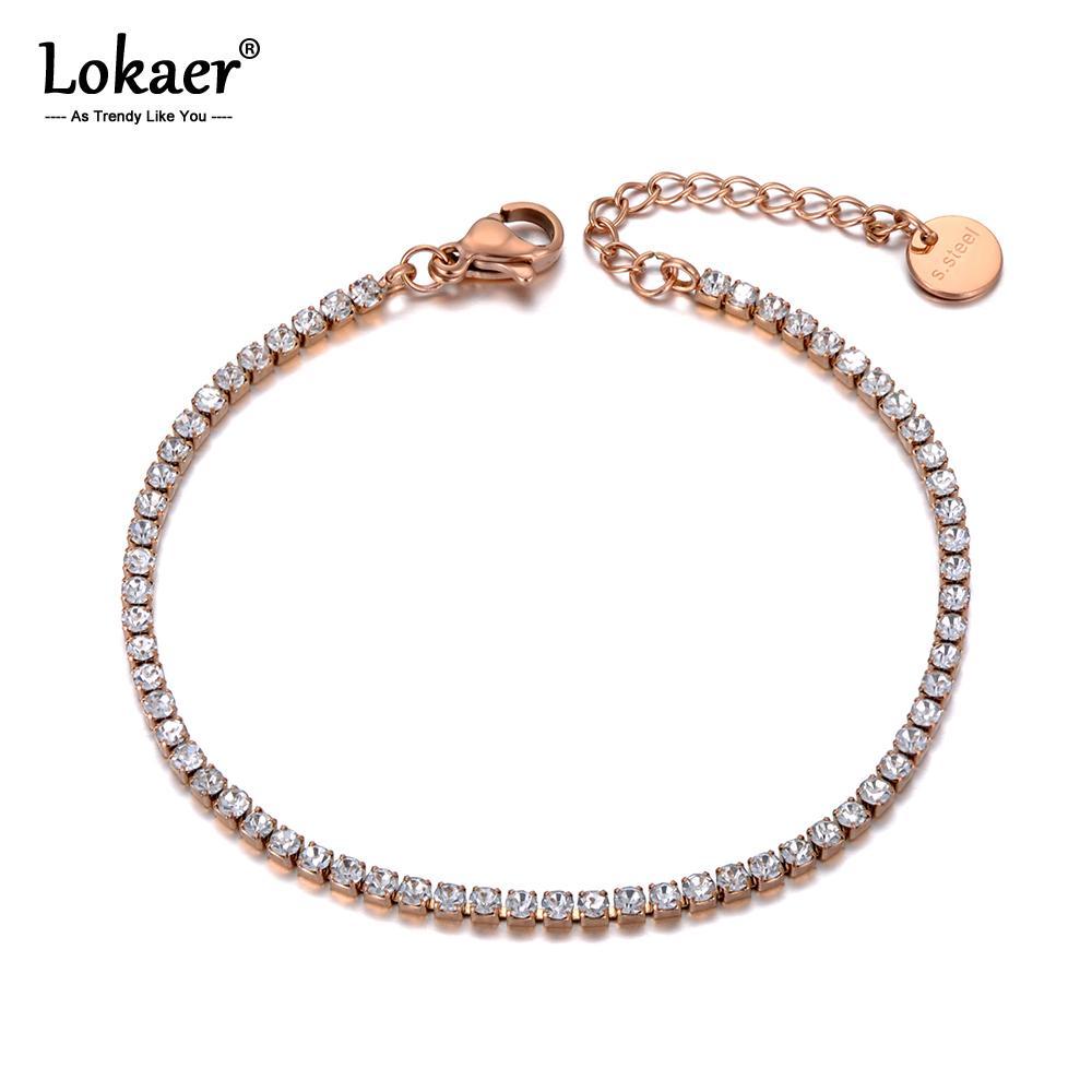 Lokaer Sparkling CZ calzini a cristallo fascino per le donne ragazze di collegamento dell'acciaio inossidabile Catena della Boemia dalla spiaggia del piede del calzino gioielli A19029 T200714