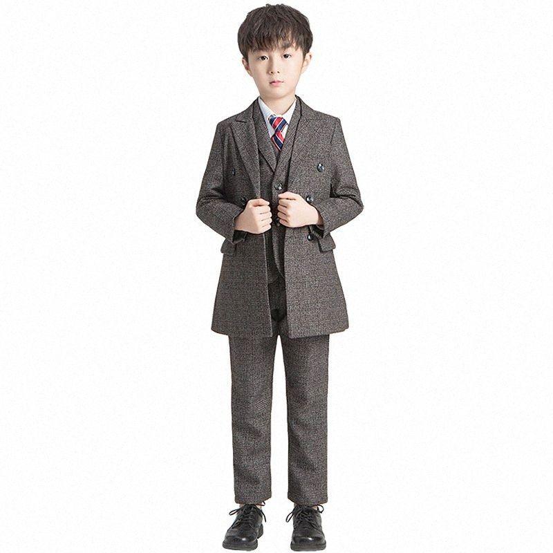 Boys Show Dress Suit Set Autumn Winter Children Wedding Party Performance Clothes Set Kids Windbreaker Blazer Vest Shirts Pants mlst#