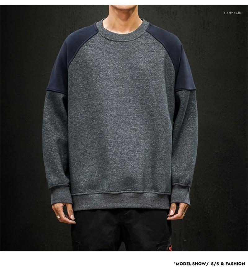Uzun Kollu Artı boyutu Kalın Giyim Homme Moda Tişörtü Kazaklar Giyim Erkek Tasarımcı Patchwork Kapüşonlular Mens O-Boyun