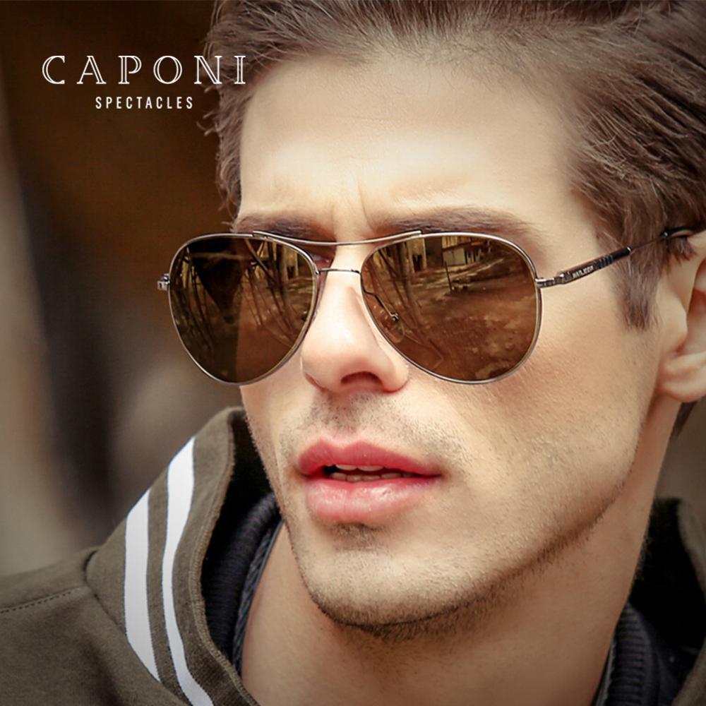CAPONI Night Vision Sonnenbrille Männer Frauen Intelligente Farbwechsel Gelb Objektive Gläser polarisierte Pilot Brillen UV400 BSYS3109