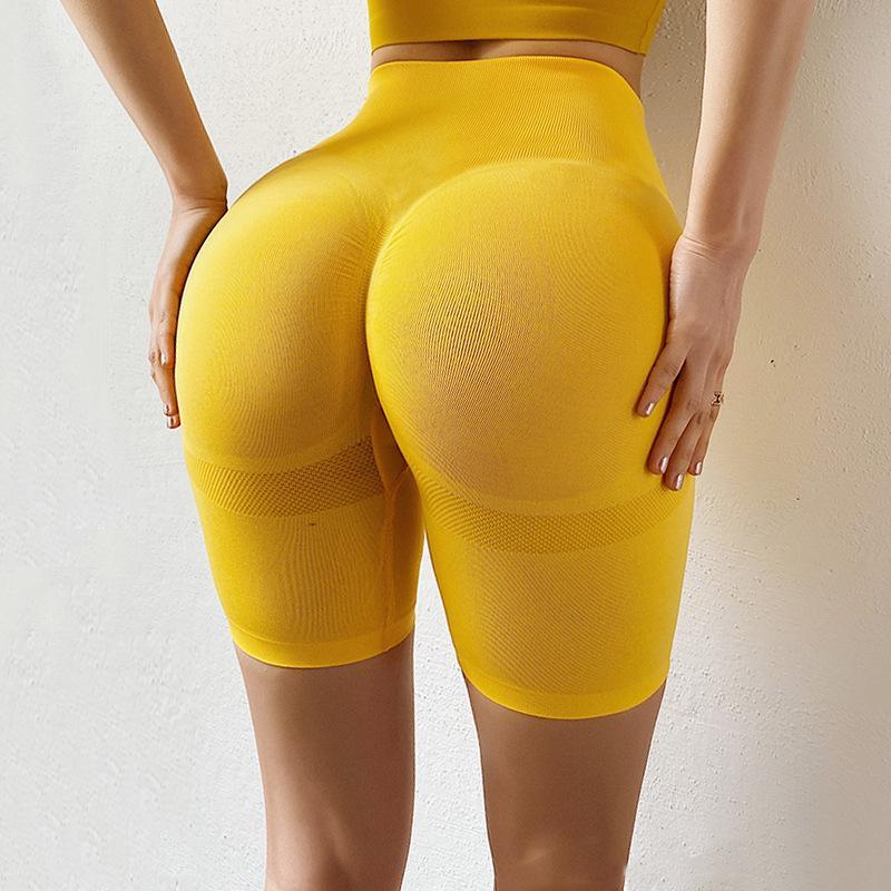 Vita alta Booty allenamento Pantaloncini Sport Donne yoga di forma fisica di ginnastica short senza Leggings elastico Scrunch BuRunning