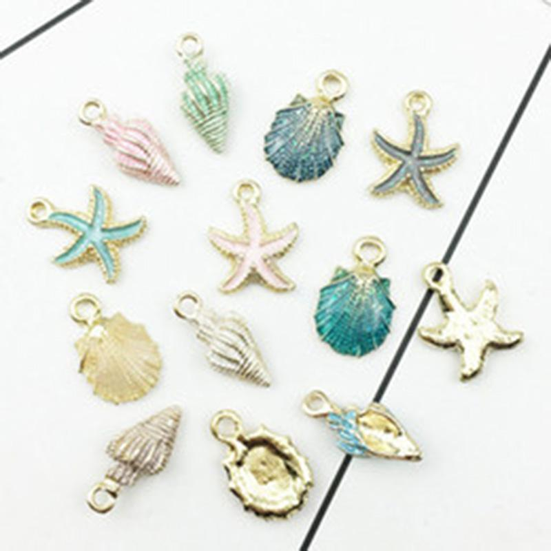 보석 액세서리 13pcs / 많은 해상 Ocea 에나멜 바다 불가사리 쉘 조가 해마 매력 다채로운 기름 드롭 펜던트 DIY