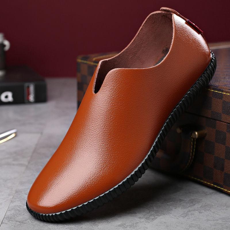 2020 Sapatos Novos Homens Casual couro genuíno Shoes Mens Mocassim Flats respirável deslizamento em manter quente Preto Driving