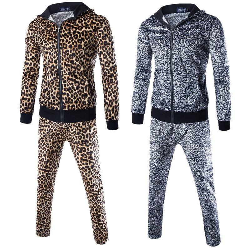 ZOGAA Leopard Мужчины наборы Мода осень весна Спортивный костюм Толстовка + Sweatpants Мужская одежда 2 шт наборы Стройный Tracksuit