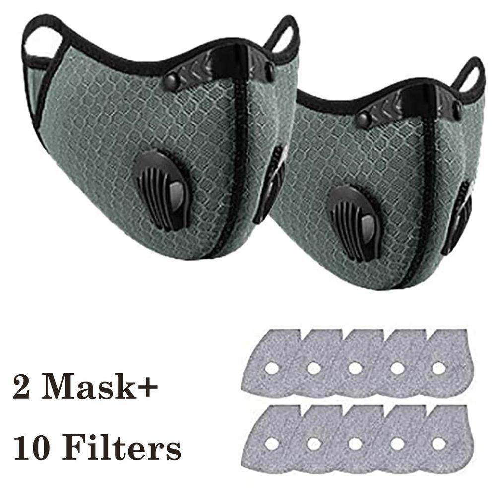 2pcs Bike Face Cover with 10pcs Filter Unisex Dust Outdoors Sports Mouth Cover