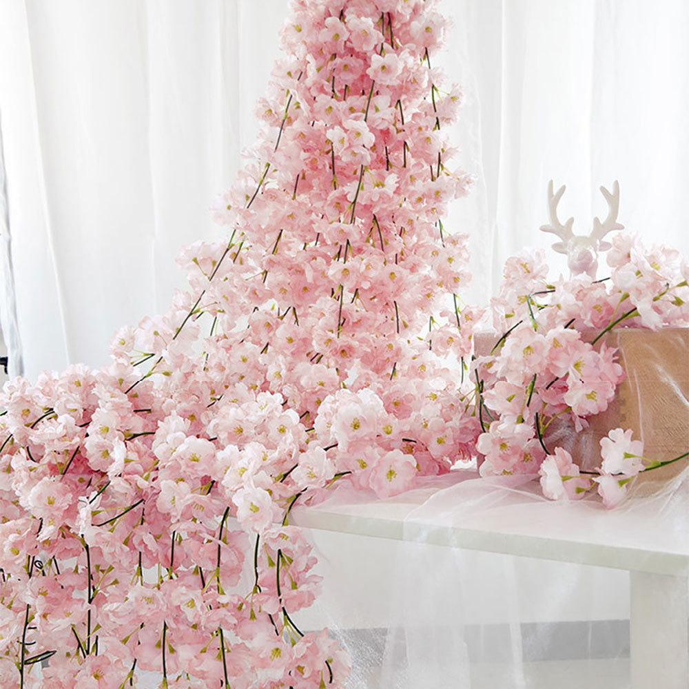 4pc / set 180 centimetri Sakura Cherry Blossom vite Lvy Wedding Arch layout della casa della decorazione del partito Rattan attaccatura di parete Ghirlanda Corona T200715