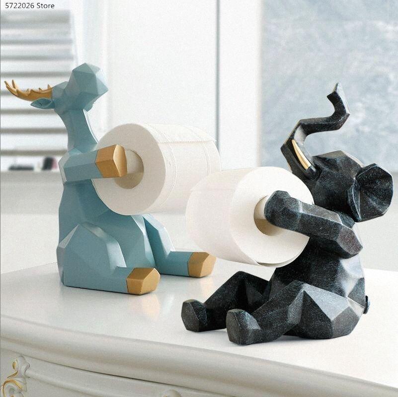 İskandinav Basit Fil Rulo Tutucu Heykel Dekorasyon Yaratıcı Salon Masaüstü Mendil Ev Mutfak Peçete Tutucu MMBe #