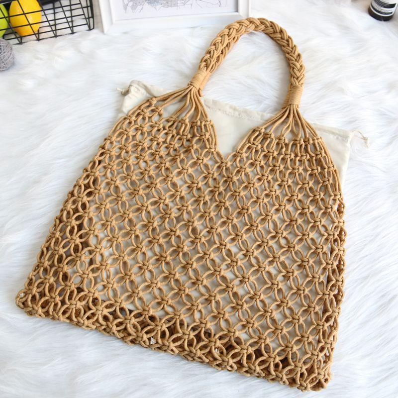 2020 new Net bag contains liner bag woven shoulder straw holiday beach handbag