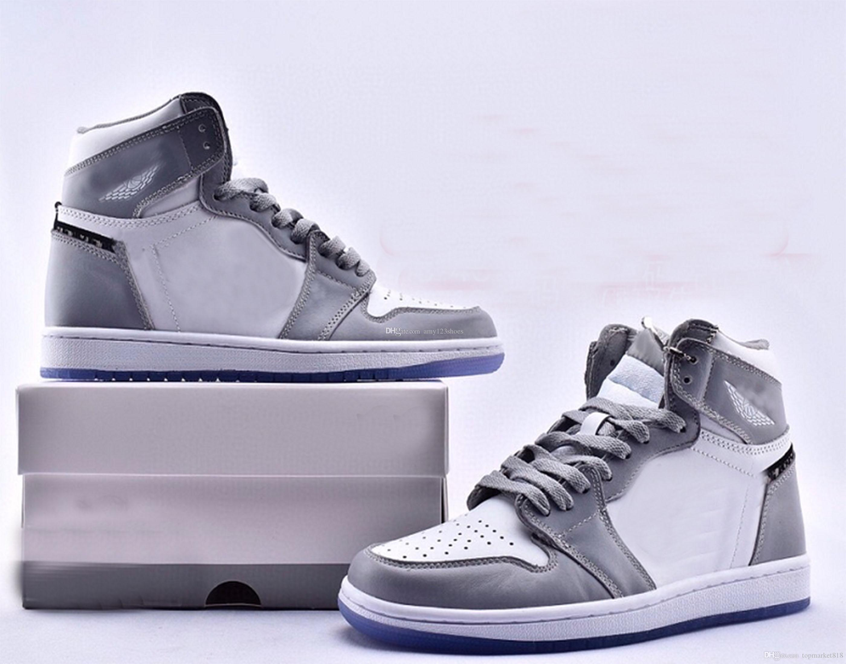 36 ~ 46: 2020 En Yeni 1s 1 Yüksek OG Siyah Saten Basketbol Ayakkabı 1s Man kadın Sneakers Cn8607-002 ile Kutu boyutu sütümsü