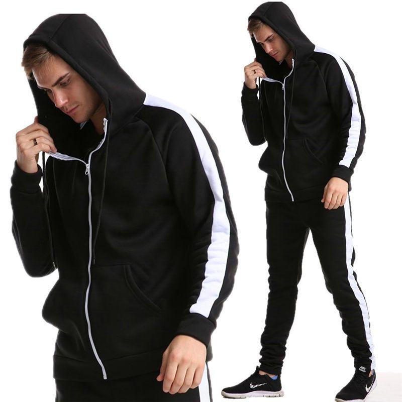 Мода бегущих Наборы Мужчины молнии Slim Fit Толстовка хлопок Tracksuit Sport Пэчворк наборы хлопка ватки одежды