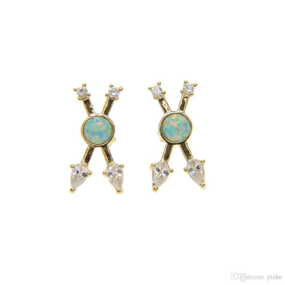 moda europea disegno Criss X cz bianco con fuoco verde opale signore donne moda classica unico oro 18k ha placcato l'orecchino croce