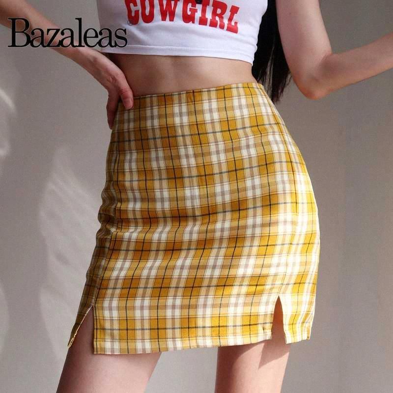 Bazaleas Streetwear Шотландка Женщины A-линии юбка Harajuku желтый плед мини-юбки женские высокой талией Split Short mNS5 #