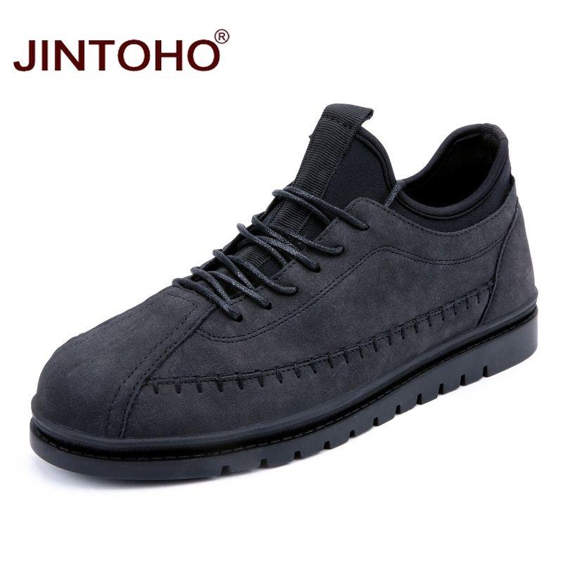 JINTOHO Büyük Boy Marka Moda Erkekler Günlük Ayakkabılar Ucuz Erkek Deri Ayakkabı Casual Yetişkin Erkek Tasarımcı Flats 2020 Sneakers