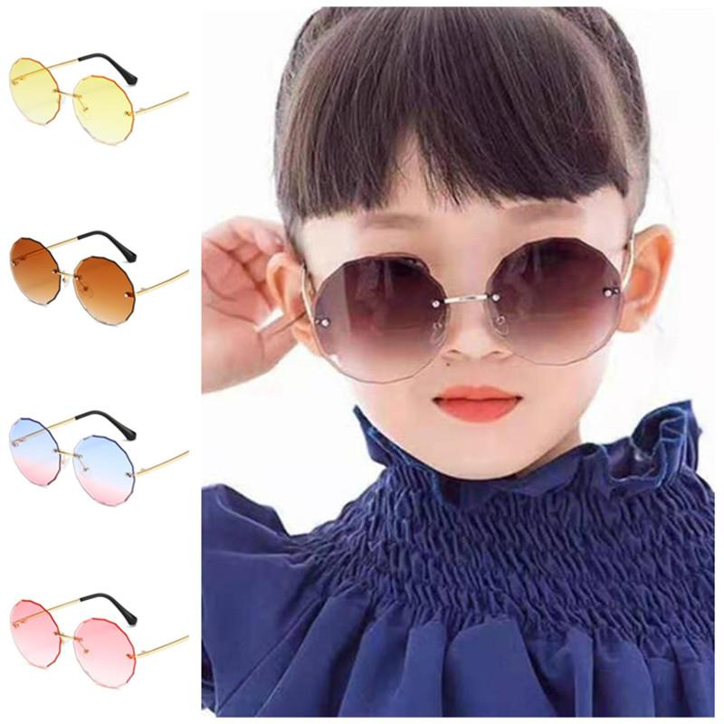 Spectacles Baby Sun Rimless Round Gradient Ornamental Eyeglasses Anti-UV NEW Flowers Goggle Children Glasses Adumbral Sunglasses A++ Hbbww