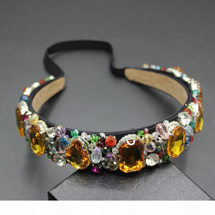 G Fashion Gem Korn-Weinlese Frauen Blume Barock gute Qualität Haarreif Luxuxkristallglas Gem Stirnband Brautschmuck 609 S918