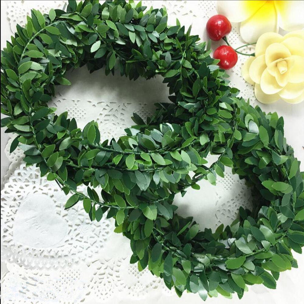 Kunstseide Garland Green Leaf Eisen-Draht künstliche Blumen-Rebe Rattan für Hochzeit Auto Dekoration DIY Kranz Blumen 1Lot = 4Pcs = 4 * 7.5m