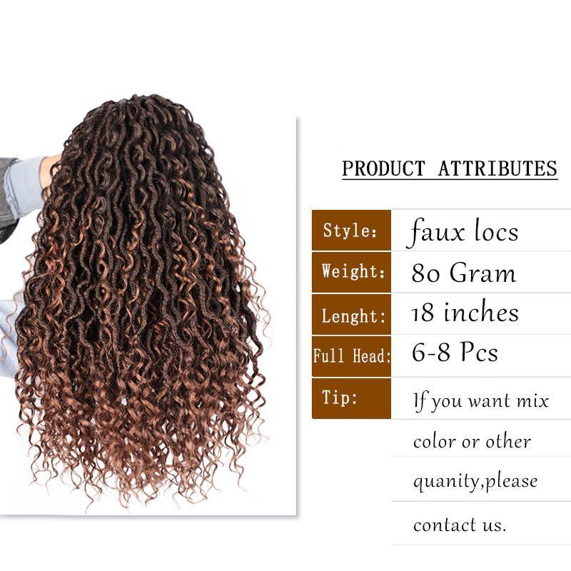 브레이드 블랙 여성 합성 머리에 머리띠 헤어 익스텐션은 루프 사전 18 인치 여신 LOCS 곱슬 크로 셰 브레이드 보헤미안 소프트의 합성
