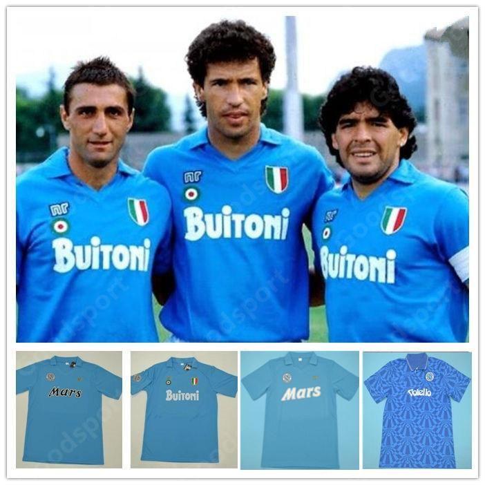 Retro Napoli-Trikots 87 88 89 91 93 Maradona Neapel Classic Soccer 86 Mertens Alemao Careca Maradona Hamsik Vintage Football Hemd Calcio