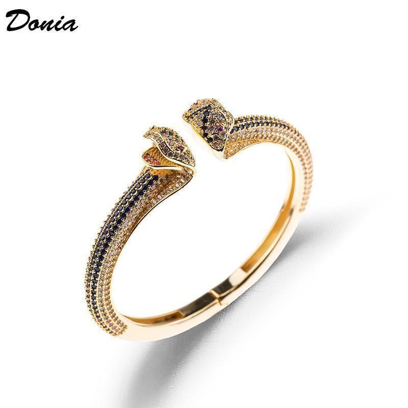 Donia moda jóias exagero Europeu e American Animal pulseira de cobre com zircônia jóias Pulseira abertura regulável