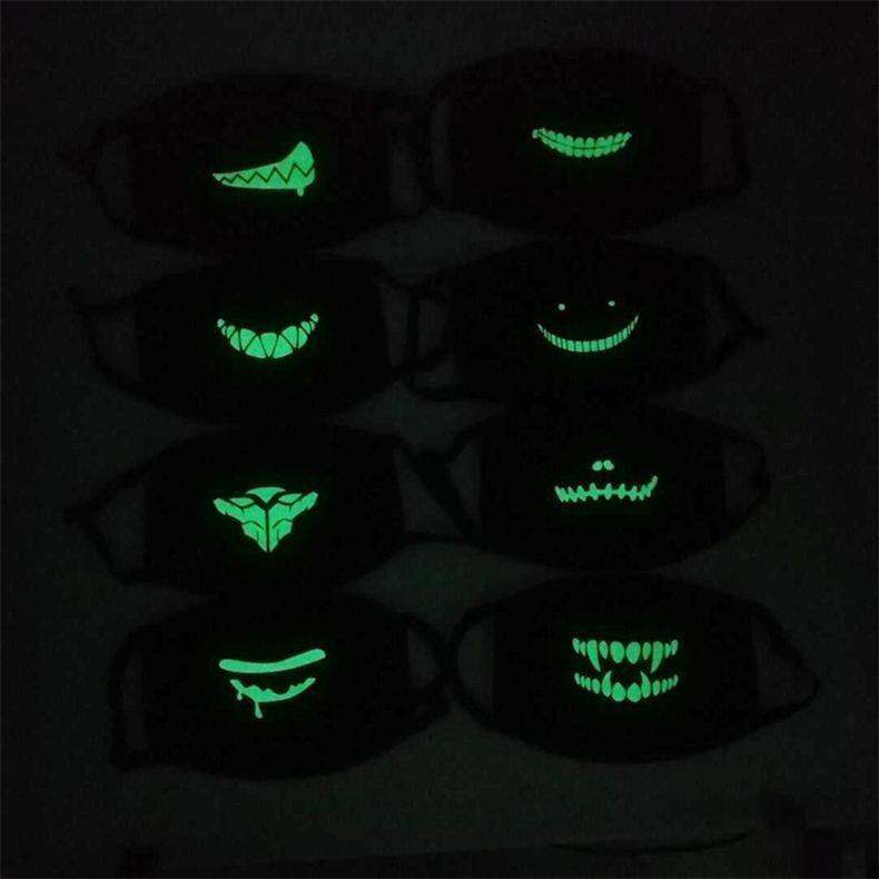 Nacht Luminous Gesichtsmaske Unisex Halloween-Party-Masken Scary Skeleton Licht in dunklen Gesicht Abdeckung Staubdichtes Schädel halbe Gesichtsmaske 16 Farb D72107