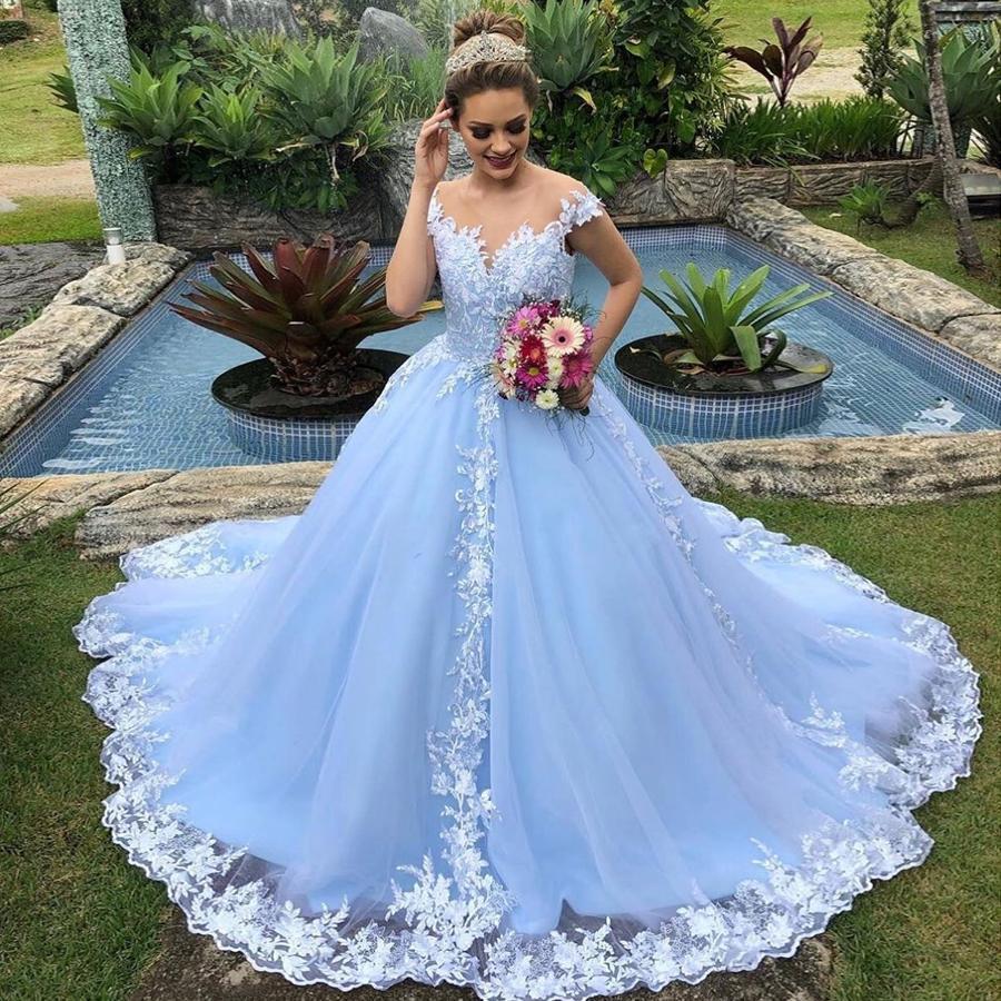 DiscountIce Blue Princess Wedding Dresses 18 Sheer Neck Lace ...