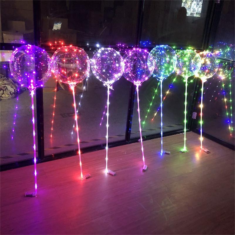 LED Balão Transparente Luminosa Iluminação Bobo Bola Balões Com 80 cm Pólo 3M String Balloon Xmas Decorações De Partido De Casamento Venda
