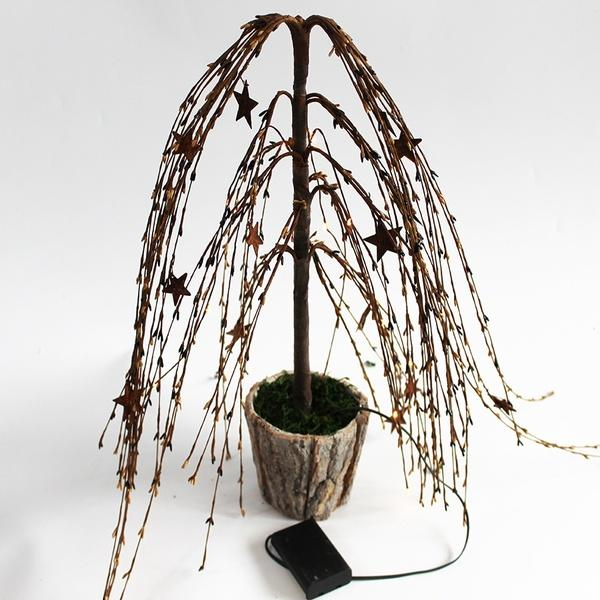 Pip Berry ang Rusty Star Tears Willow Tree National Original Flower Decoration15 LED Battery Operated with Lights Home Decor