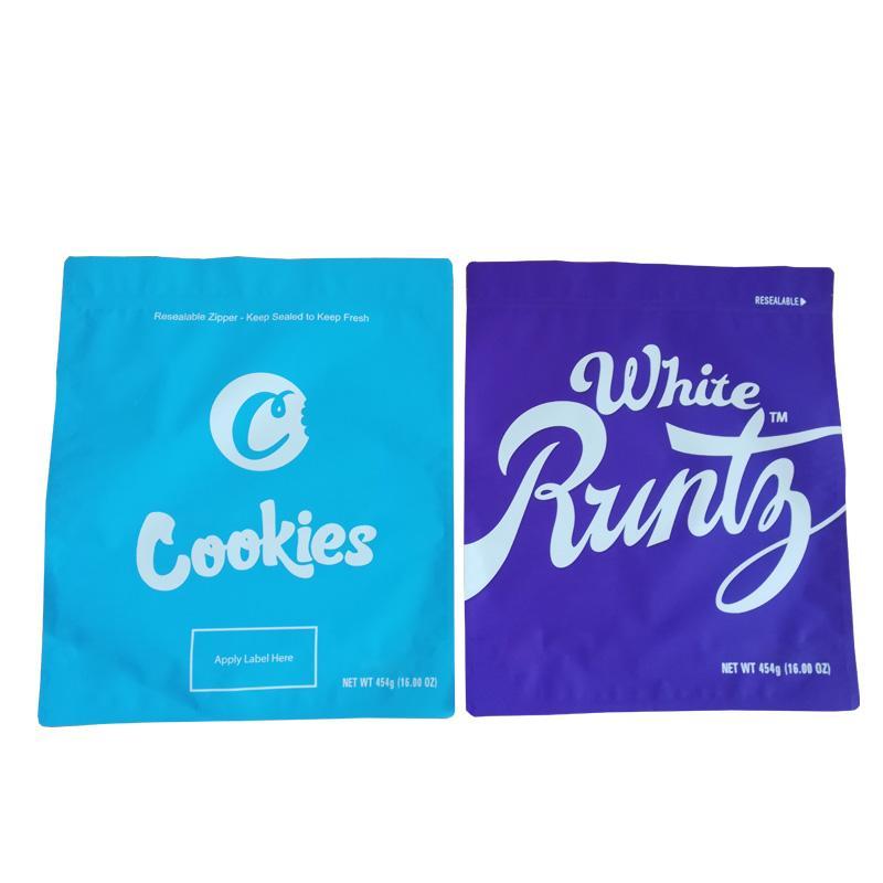 1 фунт сумка печенье c белый runtz 16 унций большой запах доказательство упаковки миларные сумки встать чеховать пакет натуральный пылезащитный DHL бесплатно