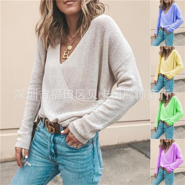 V Neck Spring Femmes Chandails en tricot entrecroisée en vrac Casual Automne Femmes Designer Pulls manches longues couleur unie Hauts pour dames