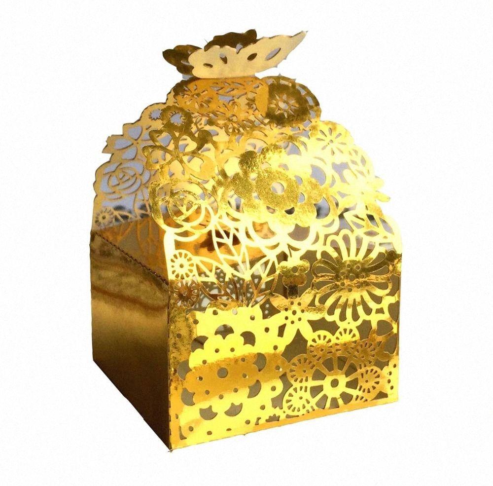 50pcs kreative Schmetterlings-Höhle-Laser-Ausschnitt-Süßigkeit-Kasten Hochzeit Geburtstag Bevorzugungen Ferrero-Geschenk-Kasten für Partei-Dekoration Guest Tasche iwYE #