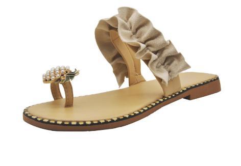 2020 Kadınlar Yaz Terlik Açık Ayakkabı El yapımı Düz Topuk Sandalet Açık Burun Ananas Peri Style Plus Boyut