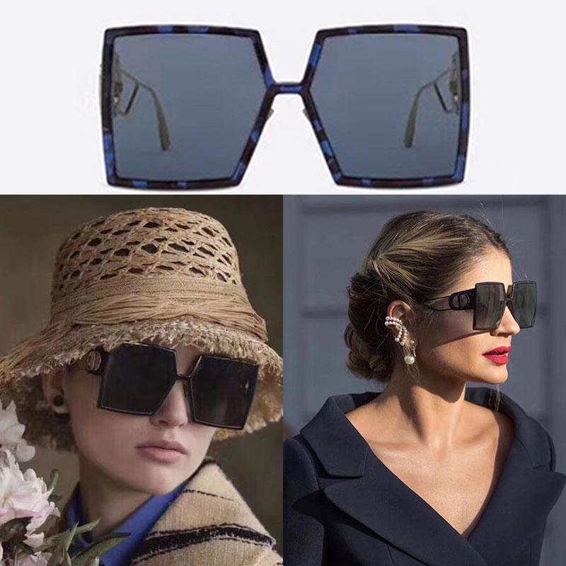 Высокого качество 2020 официальной последняя цвет квадратных очки дама дизайнер солнцезащитных очков черных синие негабаритные кадры храм металла партия очки