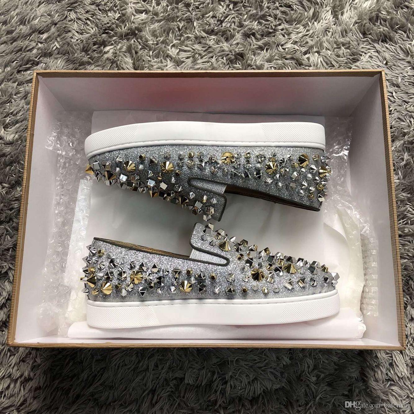 Sonbahar Açık Sneakers Düşük Ayakkabı Alt Strass Perçinler Mens Casual Oxfores Geçmeli Ayakkabı Yüksek Kalite loafer'lar Ayakkabı Parti Gelinlik Kırmızı