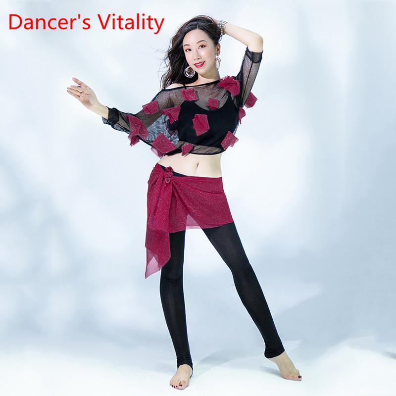 calças Adulto de dança do ventre terno treinamento 2.020 4pecies terno novo Top Calças Hip Scarf Vest para Dance desgaste da senhora Roupa Azul Vermelho