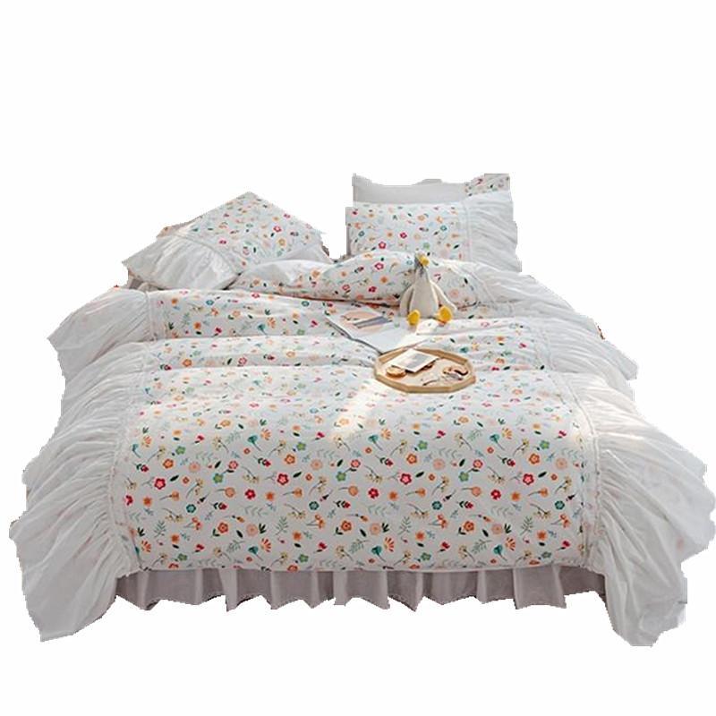 Coreano pizzo bianco letti di lusso Imposta re queen size Consolatore copertura principessa Copripiumino cotone lenzuola Imposta Rosa Giallo floreale bedset