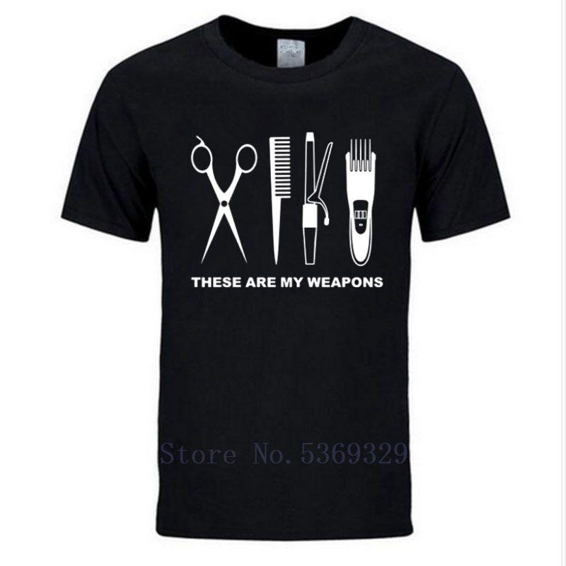 Новая 2019 Мода лето Парикмахер T-Shirt Мужчины Хлопок Barber Оружие футболки Tops ножницы футболки MoreSize короткий рукав