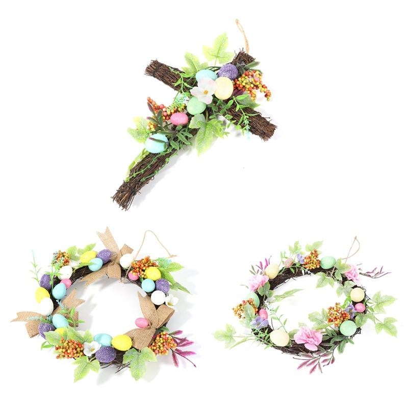 Cross Natural Rattan Wreath Home Decor Spring Wedding Wreath Easter Party Wreath Crafts Decoration Pet Supplies