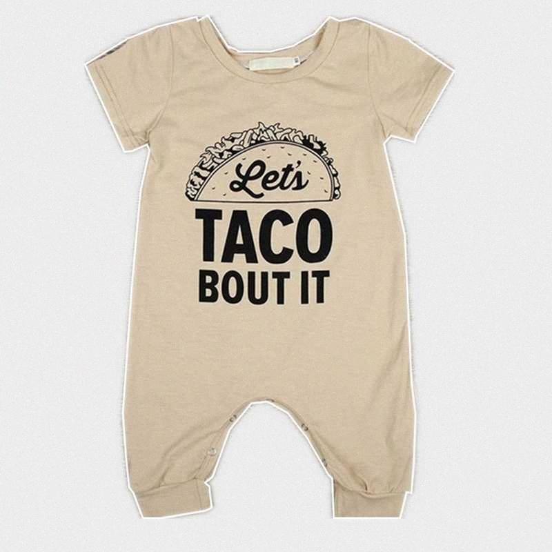 Estate Neonato pagliaccetto del ragazzo della neonata cotone pagliaccetto tuta vestiti Outfits Print TACO Bout It mD6g #