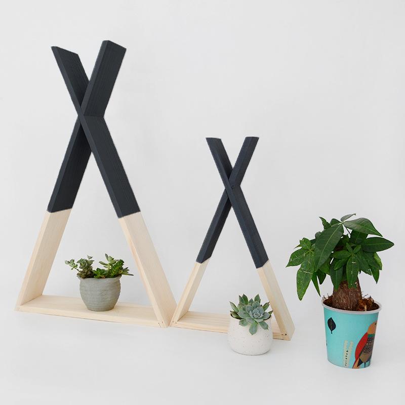 Nordic in legno in stile X Triangolo bagagli cremagliera creativo decorativo decorazione domestica attaccatura di parete decorazione della parete di immagazzinaggio