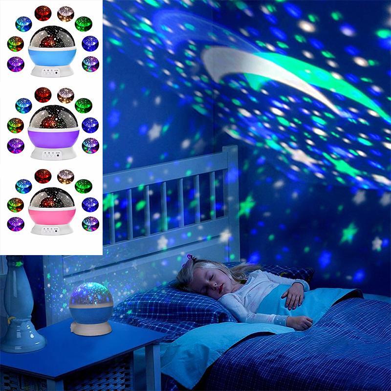 Yıldız Starry Sky LED Gece Işığı Döner Projektör Lambası Yatak Odası Çocuk Bebek düğün Noel süslemeleri hediyeler için Başucu Işıklar