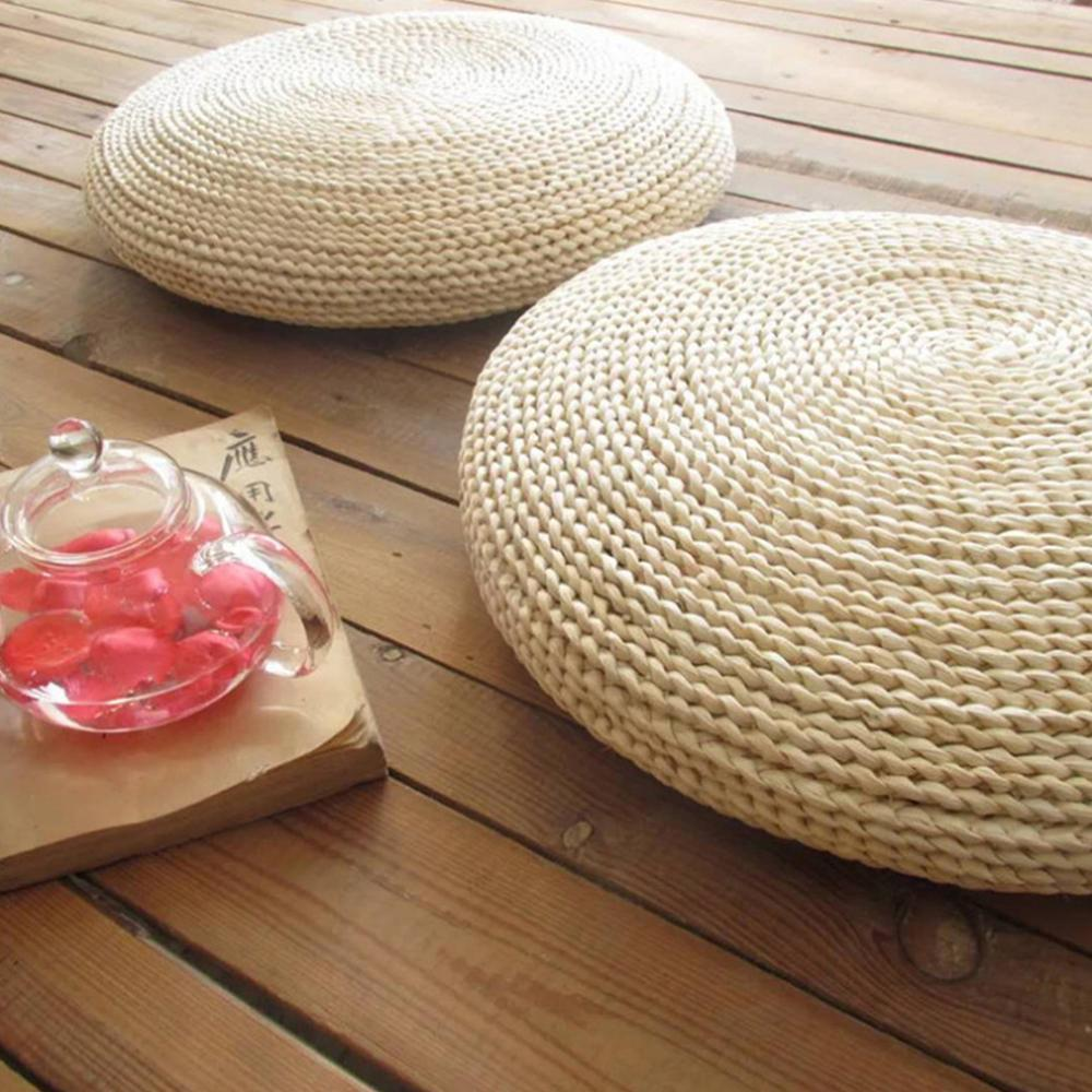 Naturel ronde Pouf faits à la main Tissage Coussin Straw méditation oreiller doux sol Chaise de yoga Seat Mat fenêtre Tatami Pad