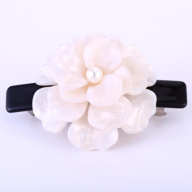 Buena Luxus weiß rosa blühende Blume Haarschmuck Celluloseacetat Blume HaarBarrettes SA028 Perle Barrette perfekte Geschenk