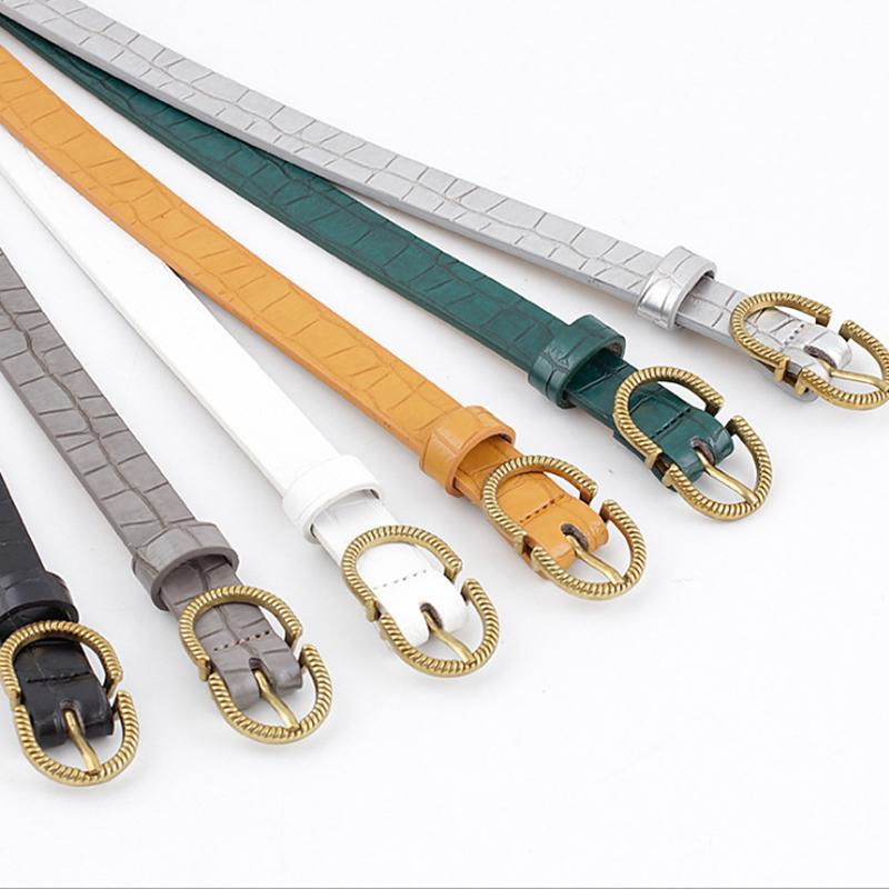 Mulheres Belt imitação de couro Alloy Pin Buckle Belt Pedra Moda Padrão Lagarto padrão decorativo Jeans Mulheres