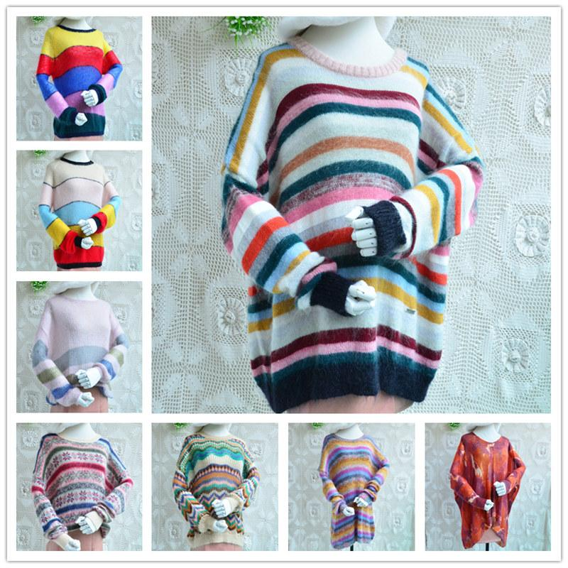 qualité supérieure femmes femmes printemps automne mohair arc rayé angora laine tricotée crochet pull lâche pull floral pull-over