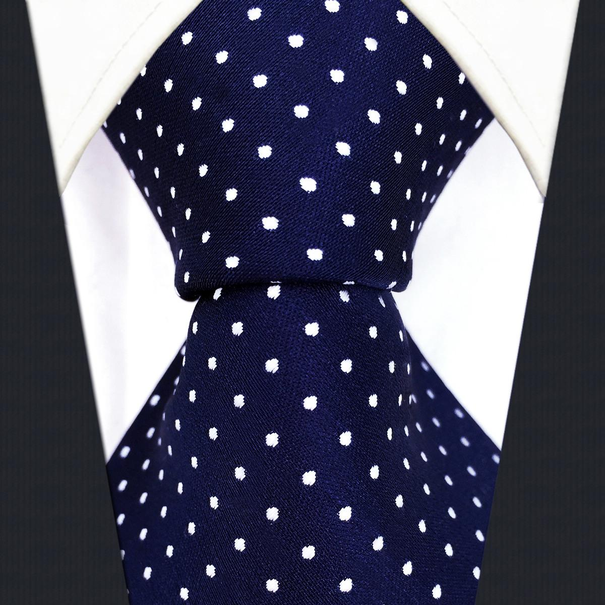 S6 점 해군 다크 블루 화이트 패션 남성 넥타이 넥타이 100 % 실크 엑스트라 롱 사이즈 자카드 직물