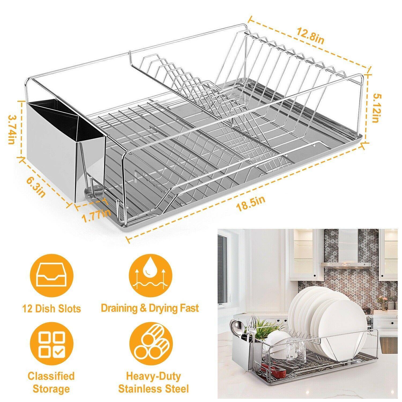 المطبخ تجفيف الطبق الرف الفولاذ المقاوم للصدأ التخزين ث / عود حامل Rrustless