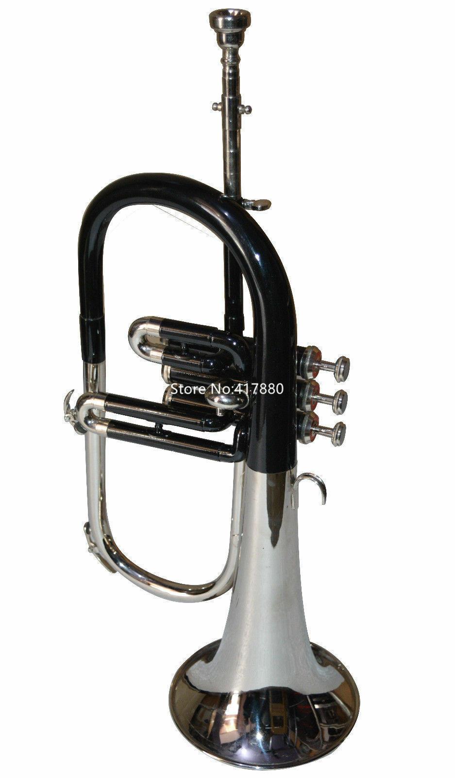 Neue Marke Bb Tune Flugelhorn Black Nickel-Splitter Bell-Musikinstrumente mit Fall-Mundstück-freies Verschiffen