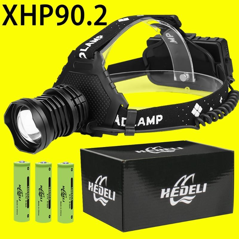 XHP90.2 poderoso farol 18650 lanterna xhp90 recarregável levou farol XHP50.2 levou farol pesca caça de acampamento